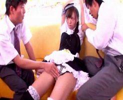 メイドカフェで働いているのがバレてしまった生徒会長がエロメンしみけん達にご奉仕する3Pセックス