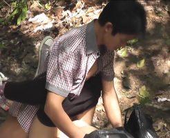 【無修正 イケメン 女性向け】森の中で見かけたイケメン男子と彼女、素人カップルの怪しい行動をこっそり映像に収めちゃいました